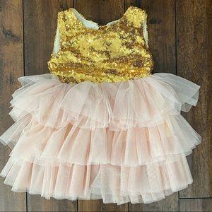 Girls 2T, blush tulle & gold sequin dress. CUTE!